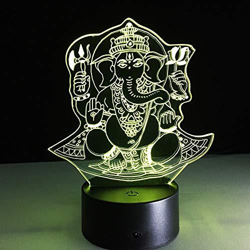 Elefant Buddha 3D Lichter Kinder Wohnzimmer Schlafzimmer Tisch Tischlampe mit Multi Farbwechsel Home Office Dekoration Boot