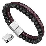 Armband Herren Naturstein Geflochtenes Armband Leder Armband aus schwarzer Onyx und lava rock mit Geschenktasche von Murtoo (naturstein braun)