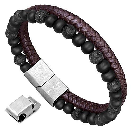 murtoo Armband Herren Leder Armband Naturstein Geflochtenes Armband aus schwarzer Onyx Wunderbar Geschenk Fuer Herren 22cm(naturstein braun)