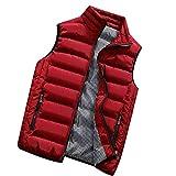 KEERADS Homme Veste Gilet Casual Chaud Doudoune Vest sans Manche Manteau Blouson Zipper Automne Hiver(FR-48/S,Rouge)