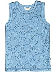 joha Joven Unterhemd Bubbles de lana de merino y Bio de algodón en azul