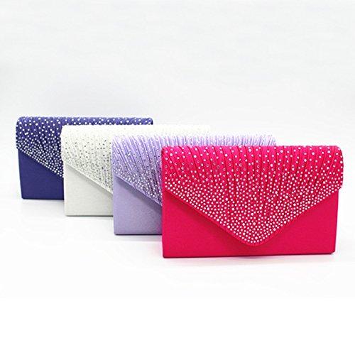 Raso Brillante Strass Da Sposa Il Sacchetto Di Sera Frizione Borsetta Borsa Multicolore Purple1