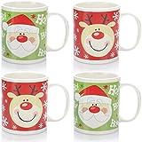 com-four 4x Tazza da caffè in ceramica - Tazza da caffè con tema natalizio - Caffettiera per vin brulé in rosso e verde - 365 ml per tazza (04 pezzi - rosso/verde)