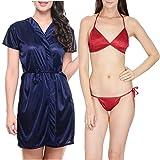 Klamotten Satin Women Sexy Nightwear and Bikini Set Combo 11M-67 Image