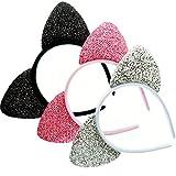 Chelsea Jones–Lote de 3brillante revestimiento de tela sobre tela orejas de gato diadema–negro/rosa/plata