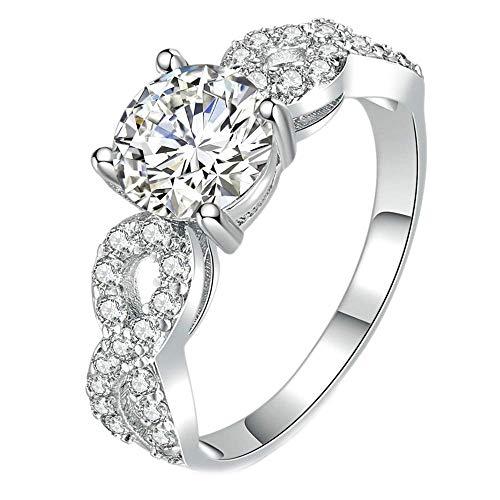 Purmy Damen Ring Weißes Gold überzogen Weiß Cubic Zirconia Mode Damen Hochzeitsring Simple Stil Größe 57 (18.1)