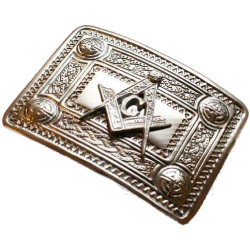 Tartanista Hebilla de cinturón para kilt escocés - Diseño masónico - Cromo