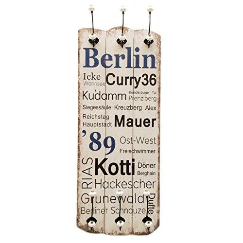 Wandgarderobe im Vintagestil aus Massivholz mit 6 Wandhaken Flurgarderobe im Shabby Chic Stil (Berlin)