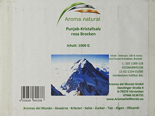 Preisvergleich Produktbild Aroma natural Rosa Punjab-Kristallsalz Brocken 1 kg,  1er Pack (1 x 1 kg)