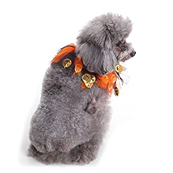 Chiot Chiens Vêtements,Colliers de Chien de Compagnie Halloween Dress Up Costume de fête de Citrouille décoratifs Orange,Manteau Habits Chien (S, Orange)