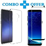 Samsung Galaxy S9 Plus Tempered Glass & Back Cover, [Combo-Transparent] [3D-Black] Premium Real 2.5D 9H Hardness HD Hybrid Perfact Fit Back Case Cover For Samsung Galaxy S9 Plus