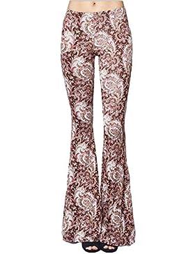 Donna Pantaloni, Vintage Bootcut Pantaloni Flare Pantaloni Piedino Largo Di Lungo Pantaloni A Vita Alta Fiori...
