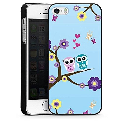 Apple iPhone 5s Housse Étui Protection Coque Hibou Hibou Fleurs CasDur noir