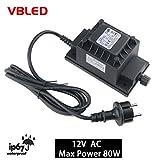 TDC 80W Netzteil / Trafo / Transformator 12V AC wassergeschützt IP67 für aussen / außen Input 230V Output 12V Anschluss IP44 1,9 m Kabel für Gartenspot / Gartenstrahler (12V AC Max. 80W)