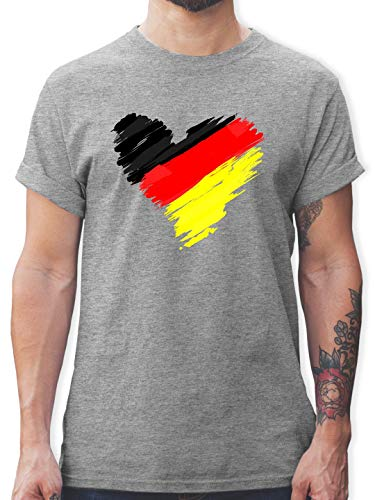 Fußball-Europameisterschaft 2020 - Deutschland WM Herz - XXL - Grau meliert - L190 - Tshirt Herren und Männer T-Shirts