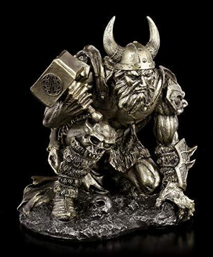 Thor Figur mit Hammer Mjolnir | Mythologie-Fgur Gott des Donners