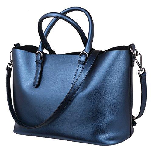 Yy.f Neue Handtaschen Ledertaschen Lässig Einfach Pearl Leder Tragbare Große Beutel Multicolor Blue