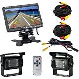 "Podofo® 7"" TFT LCD Rear View Monitor 2 x Backup Cameras 18 IR LED Night Vision Waterproof Rearview Reverse Camera for Truck RV Bus"