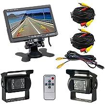 Podofo® 7 pulgadas TFT LCD monitor para ver de nuevo 2 x cámaras de respaldo 18 IR LED visión nocturna resistente al agua cámara invertida detrás de camiones Bus RV