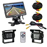 Podofo® 7' TFT LCD Rear View Monitor 2 x Backup Cameras 18 IR LED Night Vision Waterproof Rearview Reverse Camera for Truck RV Bus