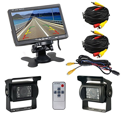 Podofo® Cámaras de Marcha Atrás 7 Pulgadas TFT LCD Monitor + 2 x Cámaras de Visión Trasera IR LED Visión Nocturna para Camiones Bus RV