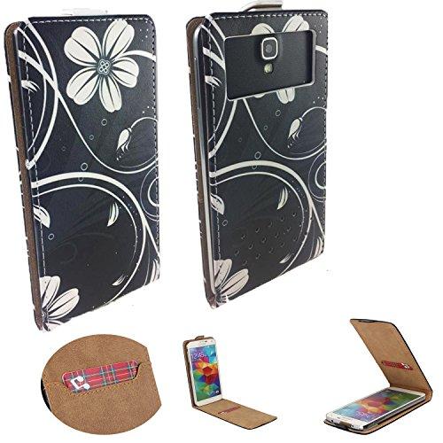 Handy Schutz Hülle | für Allview X3 Soul Plus | Slim Flipstyle mit Magnetverschluss | Flip Nano L Schwarze Blume