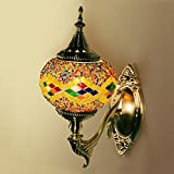 Handcrafted Turkish Moroccan Mosaic Glass Hanging Wall Lamp/Light with Bronze Base For Home Decoration, Living Room, Bedroom, Cafe (Multi-colored)