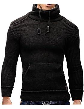 Merish Maglione lavorato a maglia uomo, con collo a scialle, Slim Fit con tasca a marsupio, 514