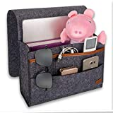 Angker Bedside Caddy Pocket, Felt Bedside Organiser with Cable Holes 4 Small Pockets for Organizing Tablet Magazine Phone Small Things Holder