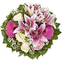"""Dominik Blumen und Pflanzen, Blumenstrauß """"Laura"""" mit rosa Lilien, Rosen und Gerbera"""