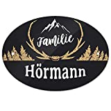 Eurofoto Türschild mit Namen Familie Hörmann und rustikalem Motiv mit Geweih | für den Innenbereich | Klingelschild mit Nachnamen
