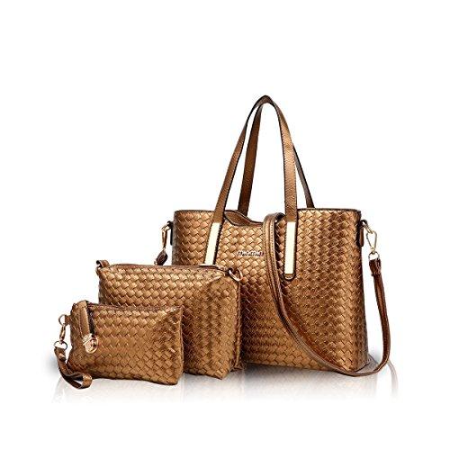 NICOLE&DORIS Damen Handtasche 3PCS Set Geldbörse Crossbody Schulter Beutel Geldbeutel Tasche Tote PU Gold