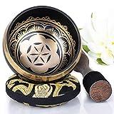 Silent Mind tibetische Klangschale Set ~ Power & Strength Design~mit hochwertigem Holz Klöppel und Himalaya Kissen ~ perfektes zur Yoga Meditation, Entspannung und Achtsamkeit ~ das ideale Geschenkset