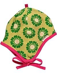 MAXOMORRA Baby Mädchen Mütze Bändchen Blume Grün Biobaumwolle GOTS