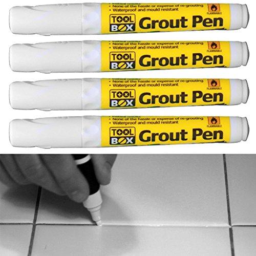 Mörtel-Stift, zum Neuauffüllen oder Auffüllen von Fliesenfugen, für Zuhause, Büro, Waschraum, Küche, 4Stück, weiß