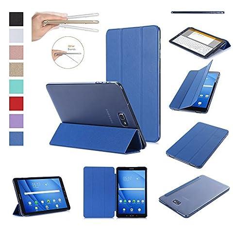 ISIN Housse pour Tablette Série Premium PU Cuir Smart Coque Étui pour Samsung Galaxy Tab A 10.1 SM-T580N T585N Android 6.0 Marshmallow Tablet (Bleu)