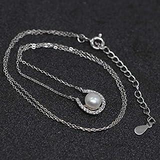 Luna Azure Süßwasser Zuchtperle und 925 Sterling Silber Rentier Elch Ren Anhänger Halskette(7.5-8.0mm) 18