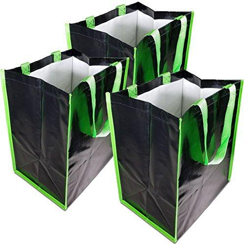 wiederverwendbar Lebensmittels Staubbeutel 3er Pack extra schwere 60-pound Fassungsvermögen Shopping Tasche mit starkem Nylon Griffe 12,5L x 9W x 15h Zoll