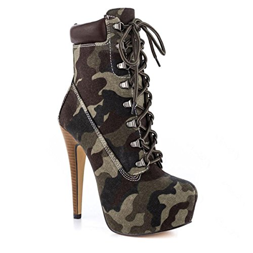 Stiefeletten Kurzschaft High Pumps Heels Zehenkappe Onlymaker Boots Stiefel dunkelcamouflage Damen wxfXUUqga
