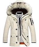 Winter Baumwolle Herren Wintermantel mit Pelzkragen Kapuzenjacke Outdoorjacke Winterjacke Warm Mantel Cremige EU L