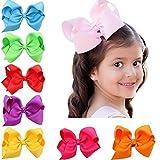 """Gemini_mall® 16 Colors 4.5"""" Boutique Hair Bows Girls Kids Alligator Clip Grosgrain Ribbon Headbands Hair Clips"""