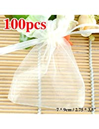 Generic Grey, 90x120mm : 2017 100PCS White Gold Red Blue Black Jewelry Packing Drawable Organza Bags Wedding Gift...