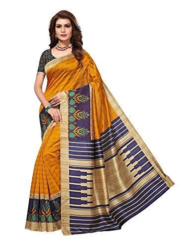 Applecreation art silk saree With Blouse Piece (multicolour saree_Free Size_APHA1039)