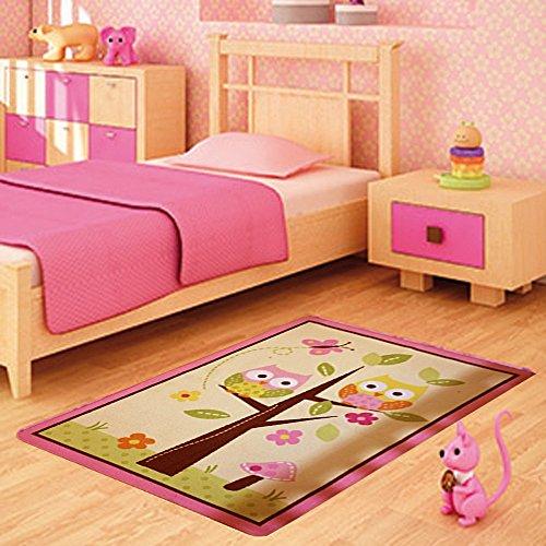 FunkyBuys® Kids Childrens OWL ON TREE (100 X 133cm) Rug Mat Modern Design  Play Mat Nursery Rugs Non Slip   3 Sizes Best Price
