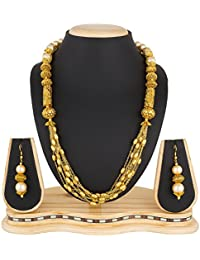The Luxor Wedding Bridal Jewellery Multi-Strand Haram Mala Pearl Necklace Set For Women And Girls - B07F32XCWD