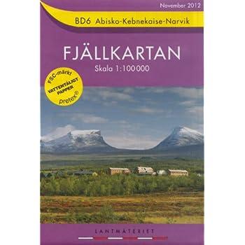 Abisko, Kebnekaise, Narvik BD6 1:100K Carte topographique de randonnée de la Suède