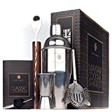 Rusty Barrel Mayfair Cocktail Making Kit - Large Manhattan Style Stainless Steel Shaker, Wooden Muddler, Strainer, Bar Measure, Pourer, Spoon & Recipe Booklet Presented in a Luxury Gift Box (UK Brand)