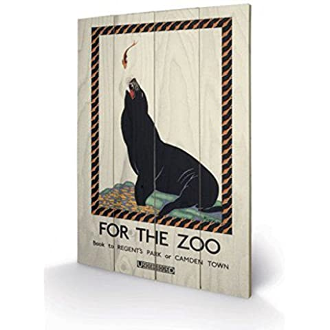 Londres - For The Zoo; Sealion, 1925, Transport For London Cuadro De Madera (60 x 40cm)