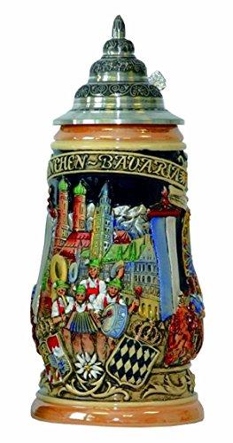 Jarra de cerveza alemana Munich Oktoberfest, jarra 1 litro KI 503 1L