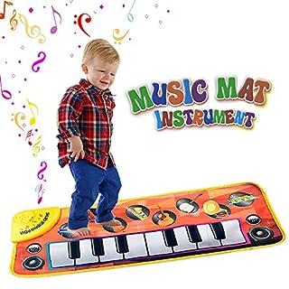 Amison Musikmatte Kinder Klavier Matte musikalische Teppich Spiel Tastatur, Noten Decke für Kinderspielwaren mit 8 Musikinstrument Baby Spielzeug Geschenk für Geburtstags Weihnachtsfest singt